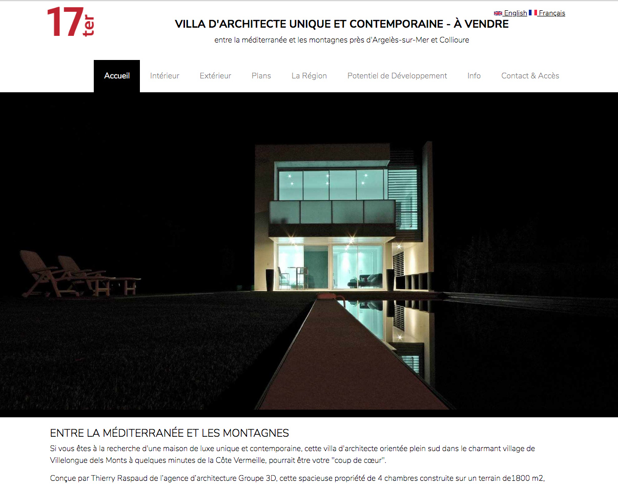 Architect designed villa for sale - Villelongue del Monts